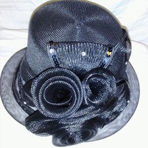Mr. Hi,'s Classic Black Formal Hat With Flower Déc
